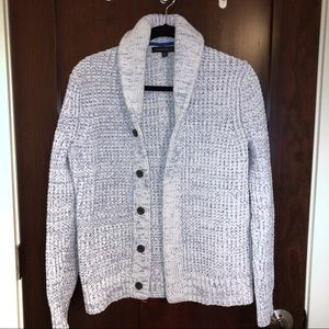 White & blue woven button cardigan with cowl neck